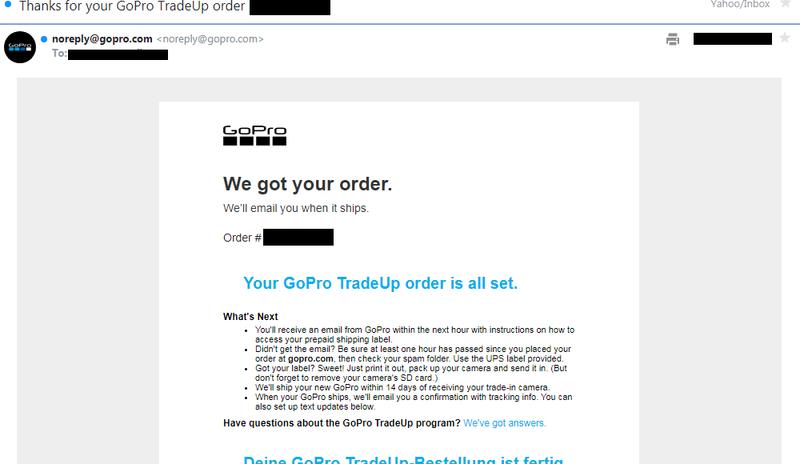 Gopro確認メール